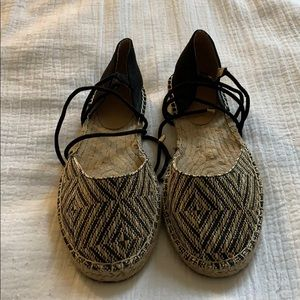 Black, tan and gold lace up espadrilles
